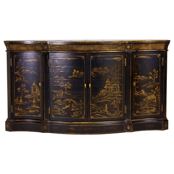 Vivianne Serpentine Console   Ethan Allen US  Classic  Chinese inspired painted chinoiserie landscape. Vivianne Serpentine Console   Ethan Allen US  Classic  Chinese