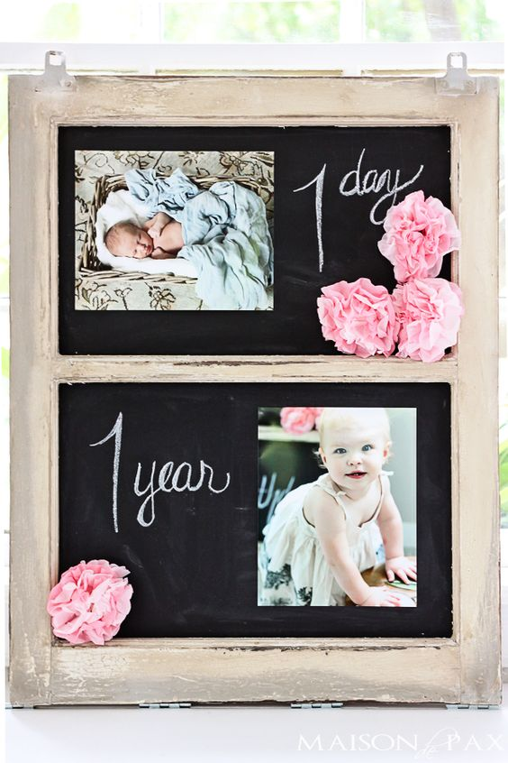 simple decorations for a first birthday party - I love the 1 day and 1 year pics! maisondepax.com