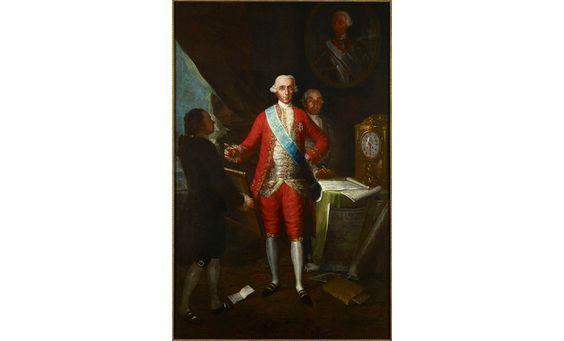 32. Goya. El conde de Floridablanca, 1783 © Colección Banco de España. La ilustración queda representada, además de la buena relación de Goya con los poderosos, y retrato al fondo de Carlos III
