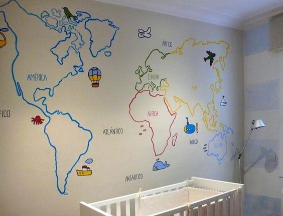 Mapamundi pintado en la pared de una habitaci n infantil - Papel pintado mapamundi ...