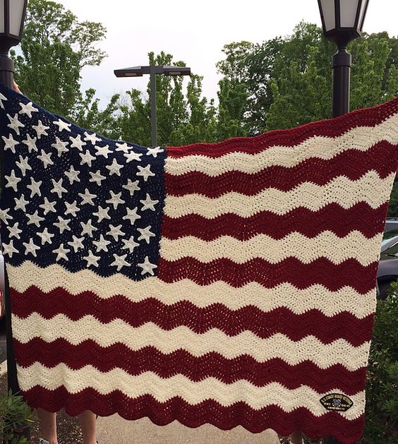 Ravelry Wavy American Flag Pattern By Tracy Johnson In 2020 Afghan Crochet Patterns Crochet Projects Crochet Crafts