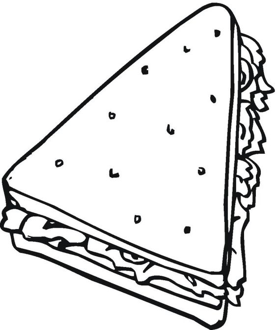 Free bread cereal coloring pages kids pinterest for Sandwich coloring page