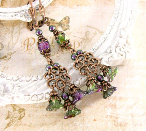 Neo Victorian peacock earrings. Swarovski pearls, anditqued copper and Czech glass flower chandelier earrings. Vintage style jewelry by ArdentHearts