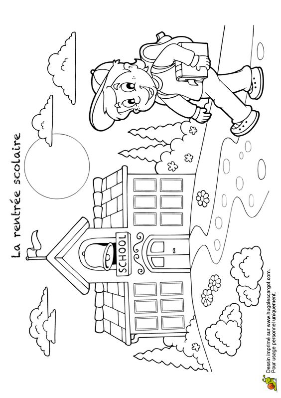 Coloriage Ecole et Meilleur Ami - Hugolescargot.com