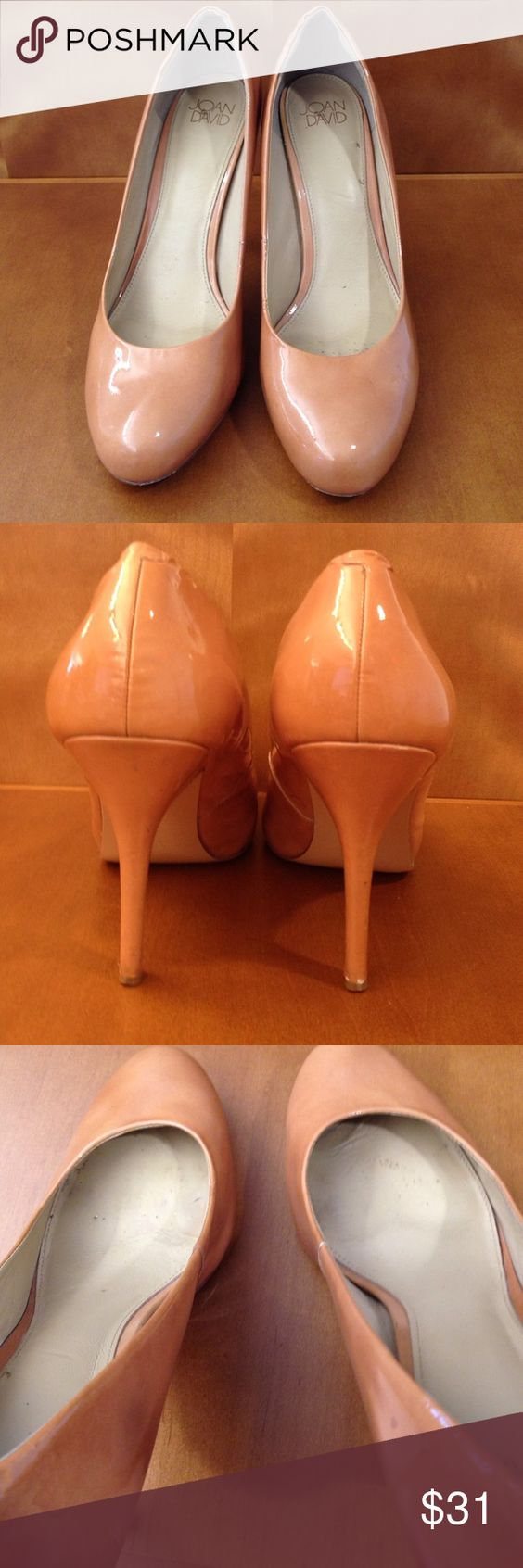 Joan & David heels Nude heels are about 3.5 inches patten leather they are used Joan & David Shoes Heels