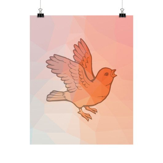 Geometric Orange Bird Fine Art Prints