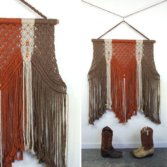 HUGE Macrame Wall Hanging / Textile Art by SPUNKvtg on Etsy, $86.00