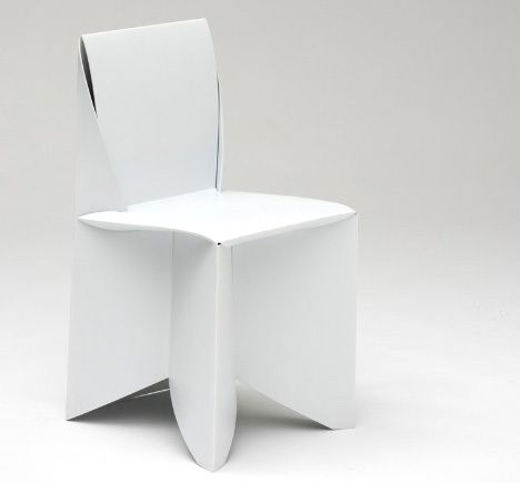 Folder origami paper chair in white chair stuhl for Chaise origami