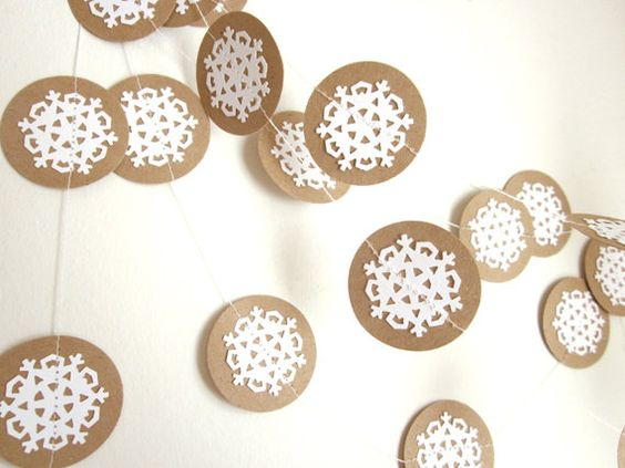 Christmas Snowflake Garland  Eco Garland  Eco by ArtsDelight, $9.00