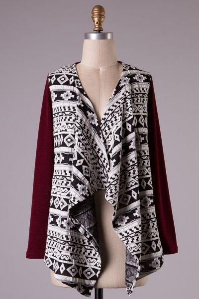 Long sleeve Aztec print asymmetrical cardigan.