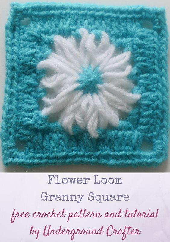 Knitting Loom Flower Tutorial : Flower loom granny square free crochet pattern with video