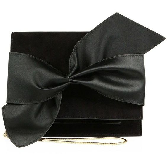 Victoria Beckham Bow Suede & Satin Mini Clutch (€1.490) ❤ liked on Polyvore featuring bags, handbags, clutches, apparel & accessories, black, bow purse, oversized purses, suede purse, mini pochette and bow handbag