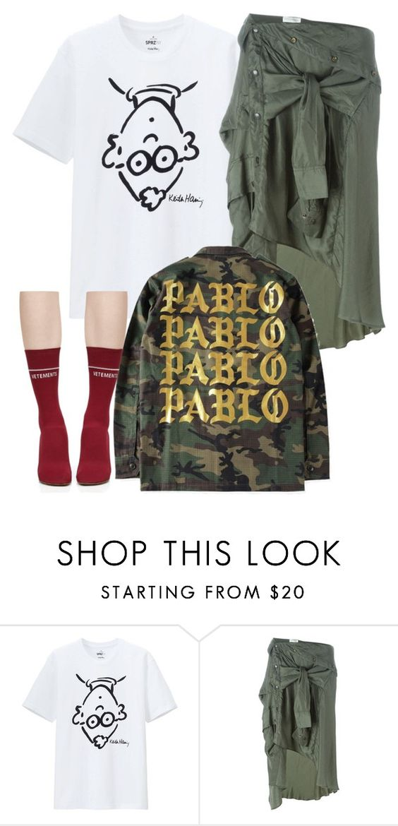"""Untitled #5893"" by stylistbyair ❤ liked on Polyvore featuring Uniqlo, Faith Connexion and Vetements"