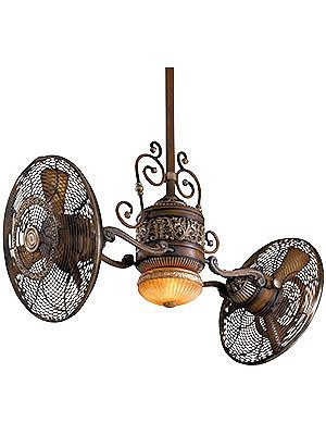 SAAAAWHEET!   Antique Ceiling Fan. Traditional Gyro Twin Ceiling Fan In Belcaro Walnut Finish...hahahahaha..