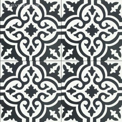 Cement tile shop handmade cement tile bordeaux for Tiles black and white