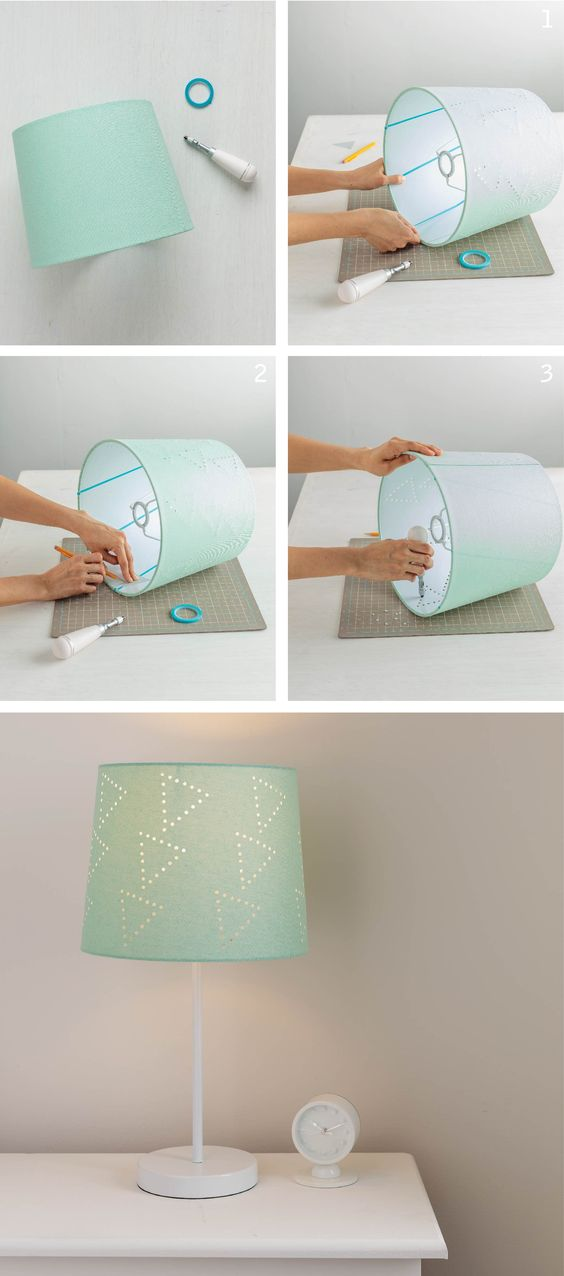 Revamp an old lamp shade by creating your own perforated for Decorate your own lampshade