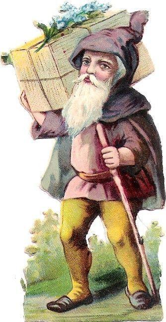 Oblaten Glanzbild scrap die cut chromo Zwerg  8,3cm Gnom dwarf Wichtel: