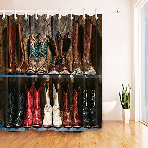 Cowboy Boots Rustic Wood Plank Decor Shower Curtain For Shower