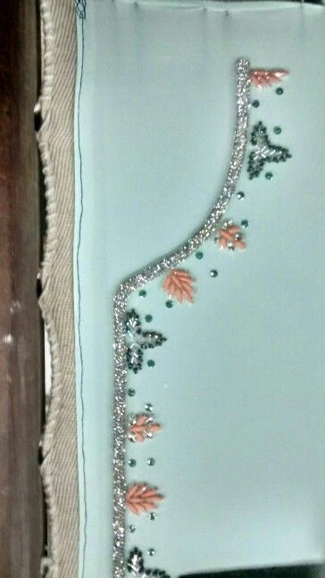Caftan inner in peach natural stone work and silver diamond