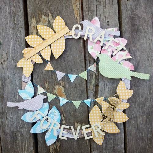Crafty Forever paper-covered wooden wreath - PAPER CRAFTS, SCRAPBOOKING & ATCs (ARTIST TRADING CARDS) - Knitting, sewing, crochet, tutorials, children crafts, papercraft, jewlery, needlework, swaps, cooking and so much more on Craftster.org