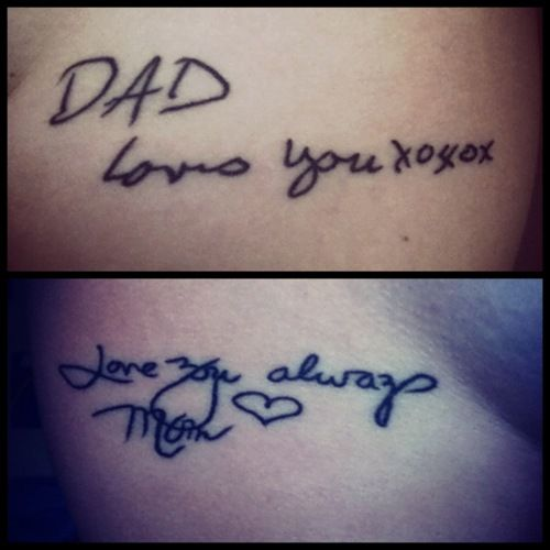 Tattoos from birthday cards of parents who passed away... love this. GREAT idea!