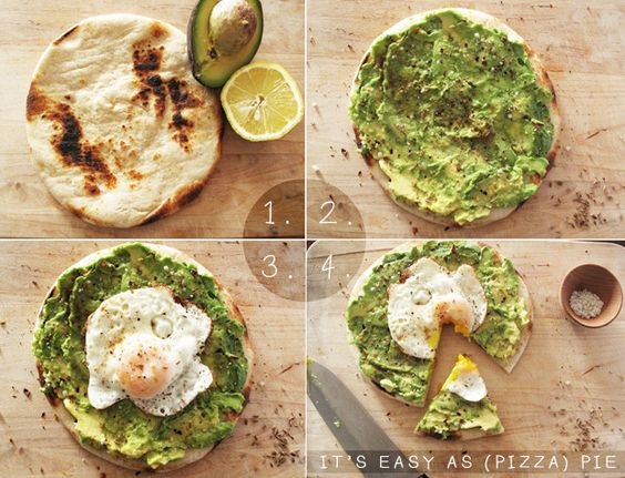 "Simple pita ""pizza""...avocado, fried egg, and a squirt of lemon!  Yum!!:"