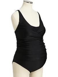 Maternity Drape-Front Faux Tankinis - i think i might need this for my water aerobics classes!