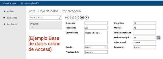 Ejemplo de base de datos online de Access