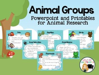 Animal Classification Powerpoint and printables for teaching animal classification.  $
