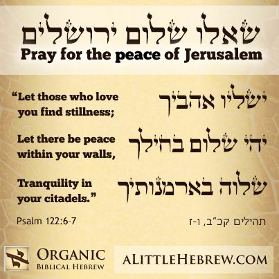 Pray for the peace of Jerusalem.    this was to lovely to make a joke about!