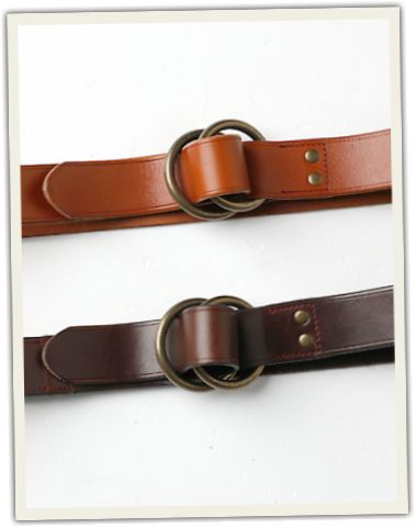 Grown & Sewn leather o-ring belt. I'd like the light brown.
