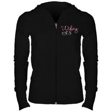 Wifey Hoodie: Custom Junior Fit Bella Stretch French Terry Lounge Zip Hoodie - Customized Girl