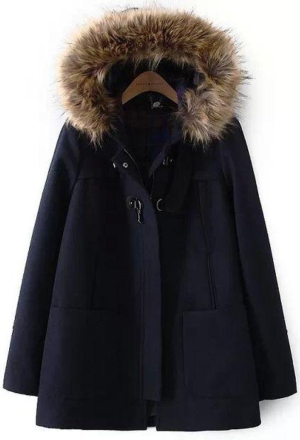 manteau en laine à capuche fausse fourrure -bleu marine  48.30