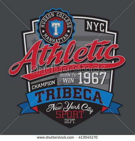Athletic sport typography, t-shirt graphics, vectors