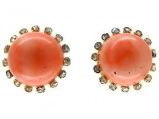 Coral & Diamond Bouton Earrings  Edwardian (1901 - 1914)
