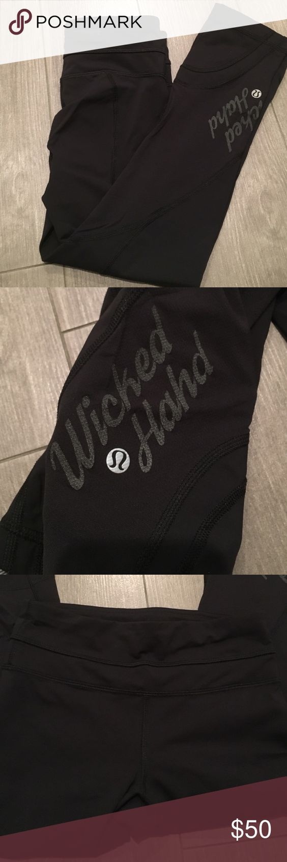"""Boston edition inspire tight """"Wicked hahd"""" inspire tights. Never been worn. Bought them too small. No flaws. Special edition for the Boston marathon lululemon athletica Pants Leggings"""