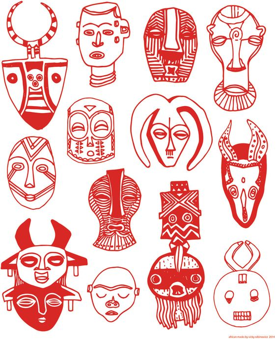 African Masks - Red Face Masks - Mask Art - African Decor - Art Print - Line Drawing Poster Art - Gift for Boyfriend, Dad, Teacher, Friend. by vickykatzman on Etsy