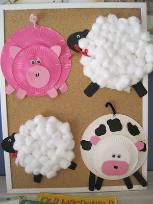 Hot pins: Creative pre-school crafts | #BabyCenterBlog.  Use cotton balls, yarn, or other craft items to make your vet, farm, or jungle animals.  Put them in cages or in a farm scene for murals in the classroom.