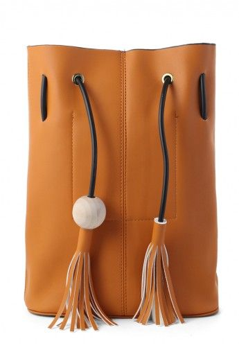 Chic Bucket Bag with Tassel Decor in Camel