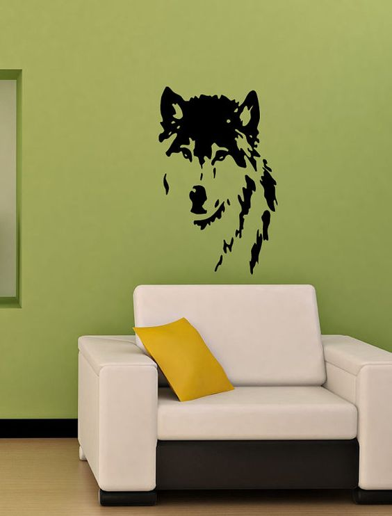 vinyl decal wolf dog home wall art decor removable stylish sticker mural l53 unique design for