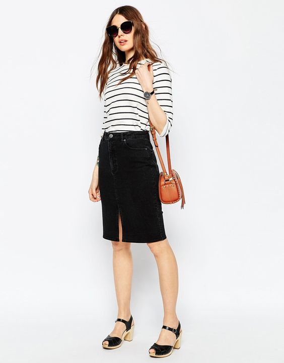 Black Denim Midi Skirt