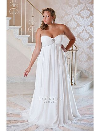 Beautiful a-line dress for plus sized brides - broach adds nice accent to direct attention away from unwanted areas