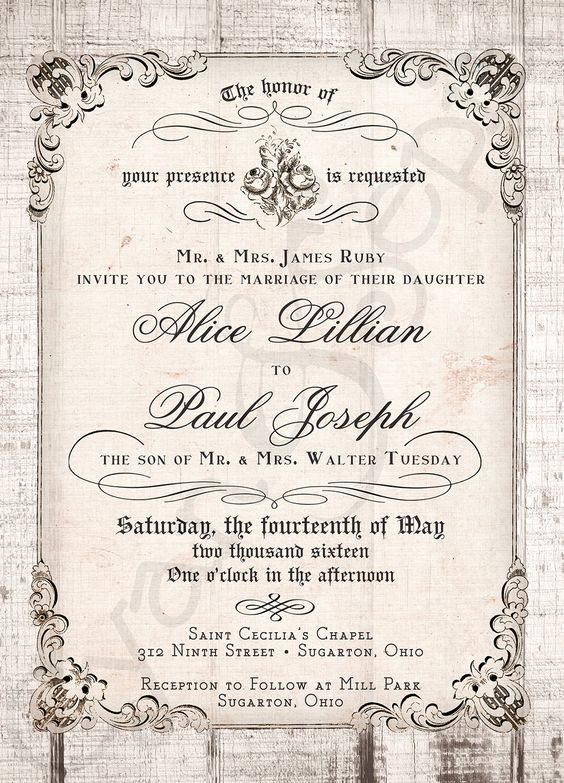 Printable 5x7 Wedding Invitation Antique Calligraphy