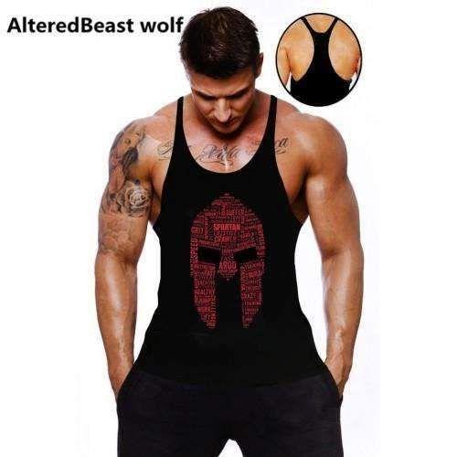 Red Blue Wrestling Sleeveless Vest T-Shirt Fit Mens