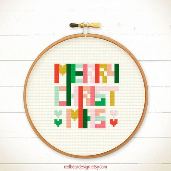 Christmas cross stitch pattern - Geometric Christmas - Xstitch Instant download - Pop Art Colourful Fun Modern Christmas Xmas