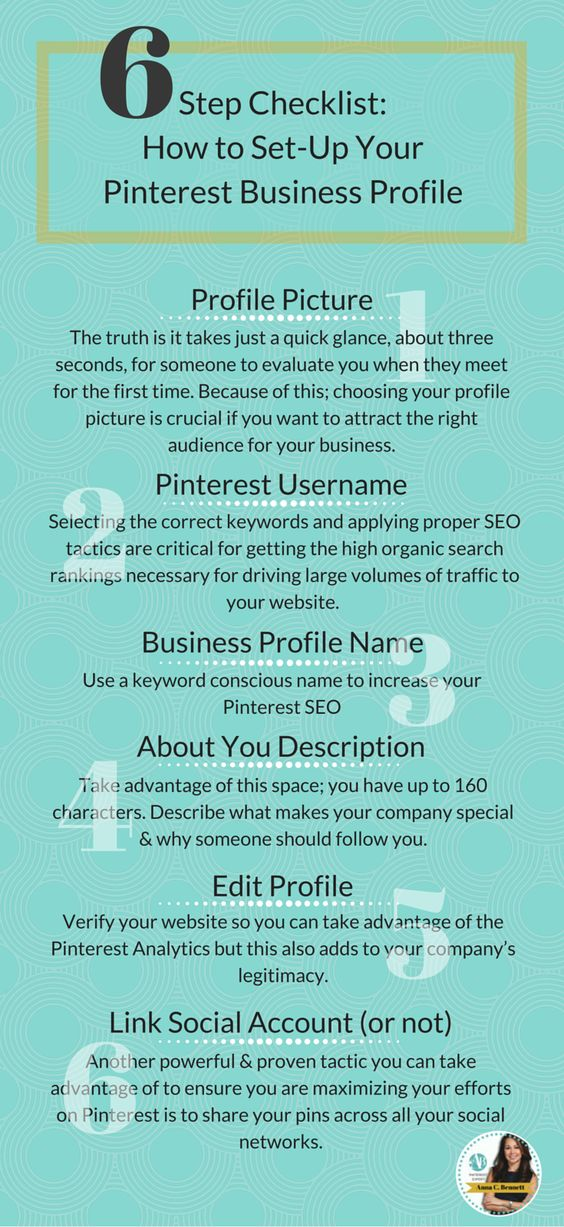 Pinterest marketing expert Anna Bennett tips for businesses: Avoid embarrassment and use these 6 steps to set-up your Pinterest business profile. CLICK here to learn more http://www.whiteglovesocialmedia.com/pinterest-consultant-avoid-embarrassment-use-these-6-steps-to-set-up-your-pinterest-business-profile/