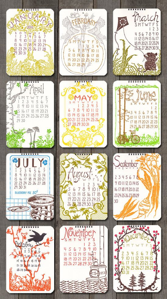 Old School Stationers 2012 letterpress wall calendar. Seen on Paper Crave