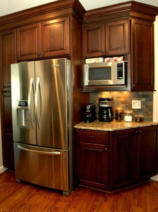 Microwaves coffee maker and coffee on pinterest for Coffee kitchen designs