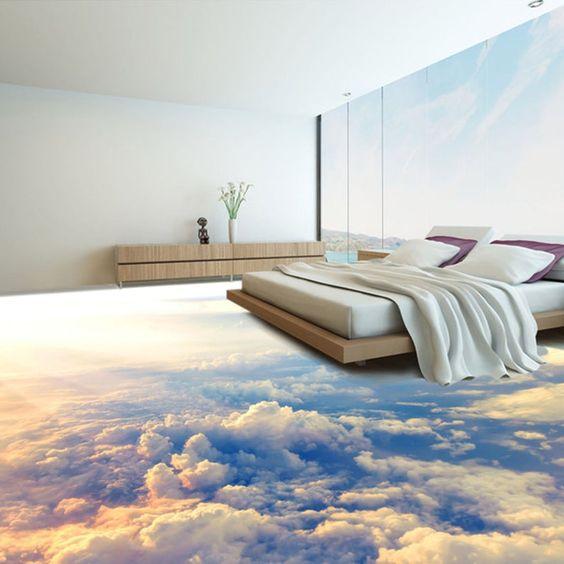 3D Sun Cloud G99 Floor Wallpaper Murals Self-Adhesive | Etsy