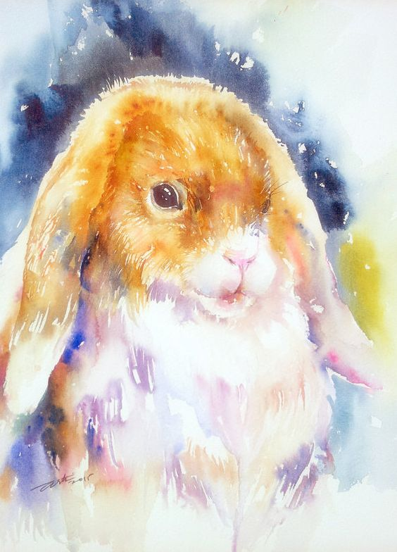 Decoration murale mignon lapin Bunny Original oeuvre 9 x 12